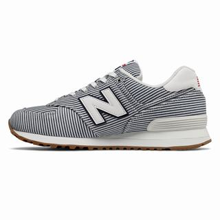 New Balance 574 Beach Chambray Mens Casual Shoes White Navy (YKUX2958)