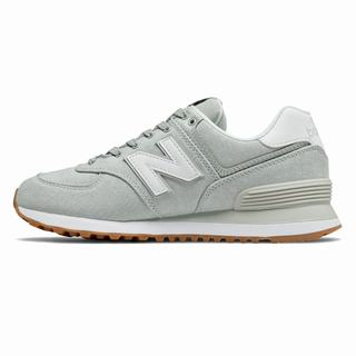 New Balance 574 Gingham Womens Casual Shoes Light Grey White (CMAU7625)