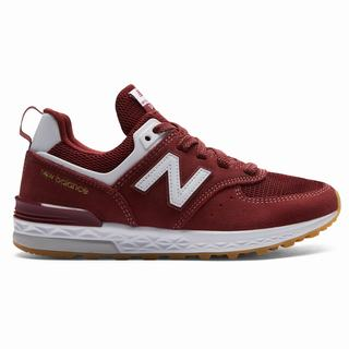 New Balance 574 Kids Casual Shoes Burgundy White (MWYS8515)