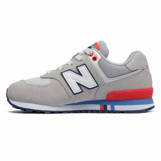 New Balance 574 Kids Casual Shoes Light Grey Red (ZDVS8379)