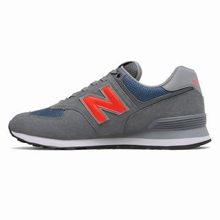 New Balance 574 Mens Casual Shoes Grey Orange (ZWTU9375)