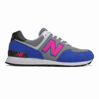 New Balance 574 Mens Casual Shoes Grey Blue Pink Black (MLCR9799)