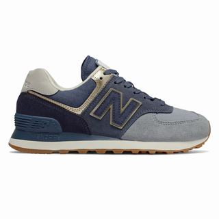 New Balance 574 Metallic Patch Womens Casual Shoes Navy Light Gold (BTHZ1402)