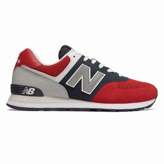 New Balance 574 Pebbled Sport Mens Casual Shoes Red Navy (KZBQ2745)
