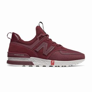 New Balance 574 Sport Mens Casual Shoes Burgundy White (EUBY4333)