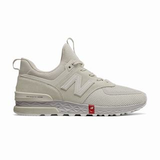 New Balance 574 Sport Mens Casual Shoes Silver Beige (UTKC6251)