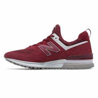 New Balance 574 Sport Mens Casual Shoes Burgundy White (FEOM1917)