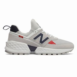 New Balance 574 Sport Mens Chunky Trainers Light Grey White (GVRH1604)