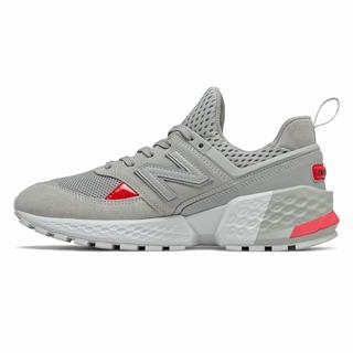 New Balance 574 Sport Mens Chunky Trainers Grey Red (SNYV1347)