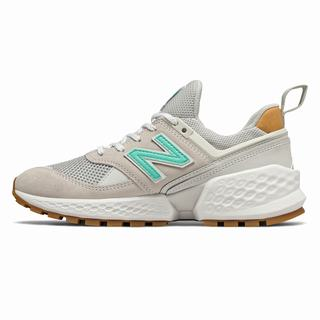 New Balance 574 Sport Womens Casual Shoes Light Grey Beige Turquoise (ATVB2738)