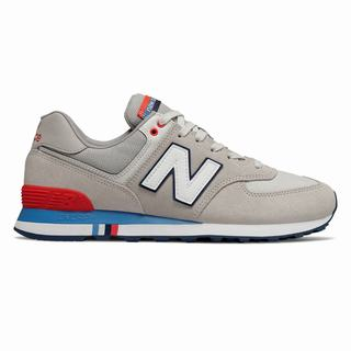New Balance 574 Summer Shore Mens Casual Shoes Light Grey Red (VKDC4605)