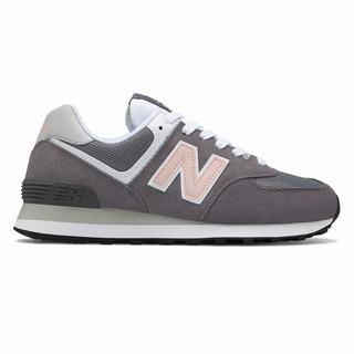 New Balance 574 Womens Casual Shoes Dark Grey Pink (ERKD9953)