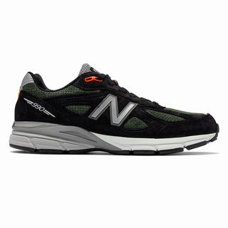 New Balance 990v4 Made in US Mens Chunky Trainers Black Green (BLMW3326)