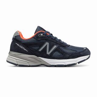 New Balance 990v4 Made in US Womens Chunky Trainers Navy Orange (GCNJ1349)