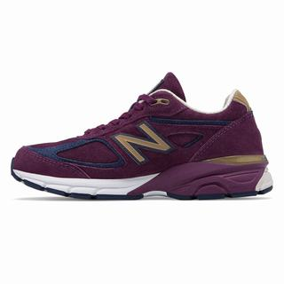 New Balance 990v4 Made in US Womens Chunky Trainers Claret Navy (IGOL6442)