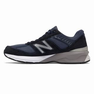 New Balance 990v5 Made in US Mens Chunky Trainers Navy Silver (ZNDP6508)