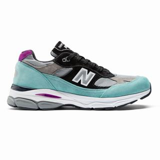 New Balance 991.9 Made in UK Mens Casual Shoes Light Turquoise Grey Black (WJNZ1775)