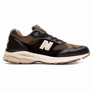 New Balance 991.9 Made in UK Mens Chunky Trainers Black Olive (AOFW7628)