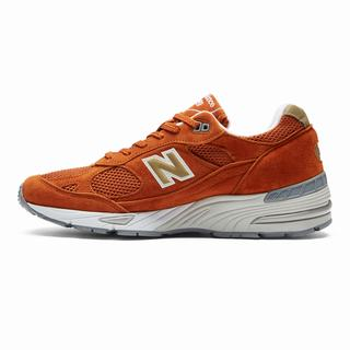 New Balance 991 Made in UK Mens Casual Shoes Orange Gold (DPOG9941)