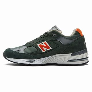 New Balance 991 Made in UK Mens Casual Shoes Green Orange (ZQWT7771)