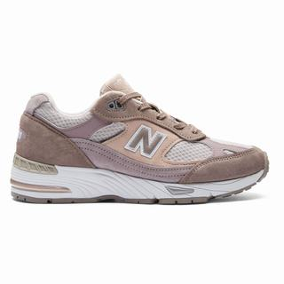 New Balance 991 Made in UK Womens Casual Shoes Grey Pink Grey (QCUR8336)