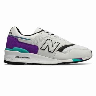 New Balance 997 Made in US Mens Chunky Trainers Light Grey Purple (VFTD3722)
