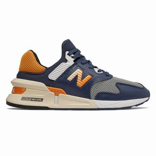 New Balance 997 Sport Mens Chunky Trainers Navy Orange (ZOBK3765)