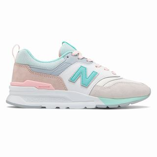 New Balance 997H Womens Chunky Trainers Beige Turquoise (MDAJ6466)