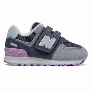 New Balance Hook and Loop 574 Kids Casual Shoes Indigo Dark Purple (LCGJ9327)