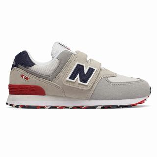 New Balance Hook and Loop 574 Kids Casual Shoes Light Grey Red (CDUF9668)