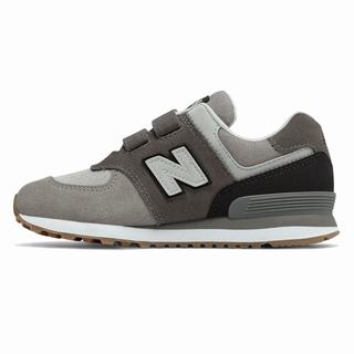 New Balance Hook and Loop 574 Kids Casual Shoes Grey Black (CRBE6247)