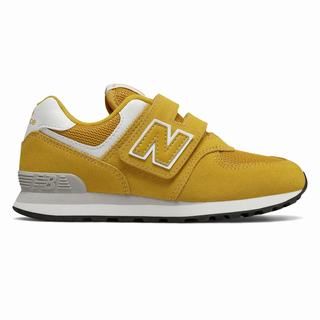 New Balance Hook and Loop 574 Kids Casual Shoes Orange Flower White (WOZH7923)