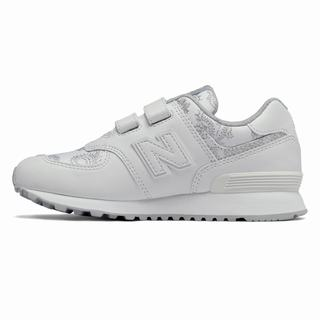 New Balance Hook and Loop 574 Paisley Camouflage Kids Casual Shoes White Light Grey (OLPH3521)