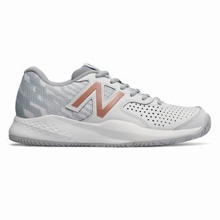 New Balance Leather 696v3 Womens Tennis Shoes White Rose Gold (WYBC5515)