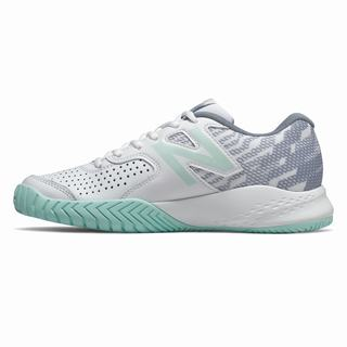 New Balance Leather 696v3 Womens Tennis Shoes Blue Grey (WMCF7599)