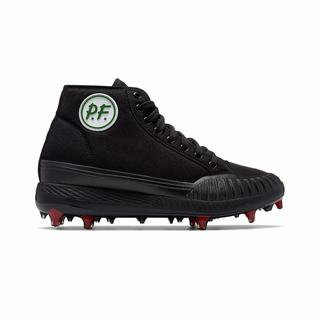 Pf Flyers Sandlot Center Hi Composite Cleat Mens Sneakers Black Red (UBYK7001)