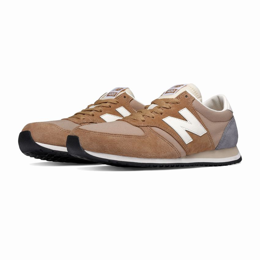revendeur c4aa9 b316e Cheap New Balance 420 Womens Beige Grey White Casual Shoes