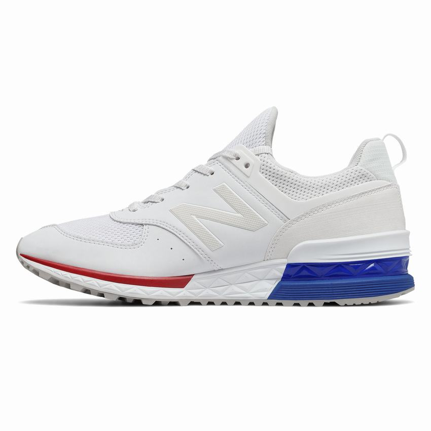 New Balance 574 Sport Clearance - Mens White Blue Casual Shoes