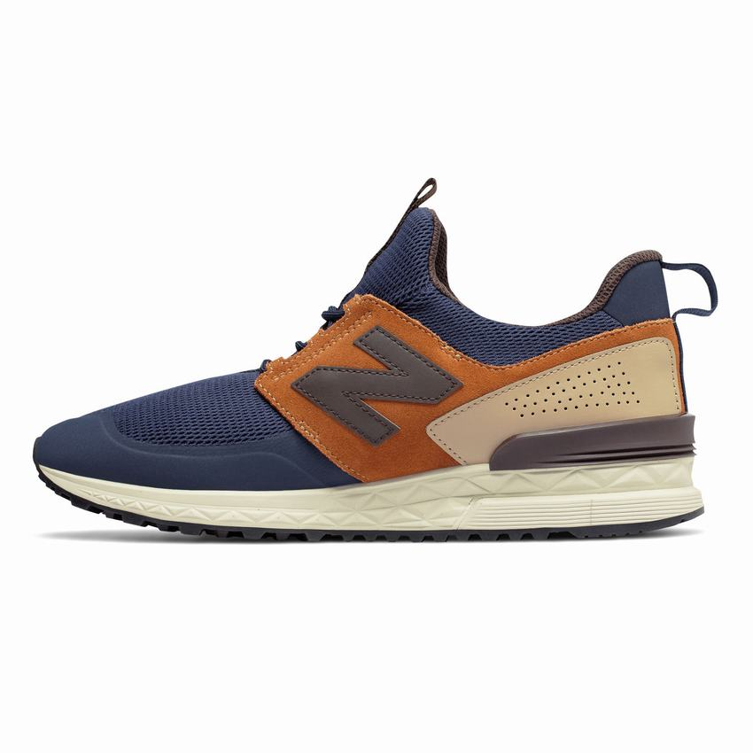 brand new 01e39 e148a New Balance 574 Sport Low Price - Mens Navy Brown Casual ...